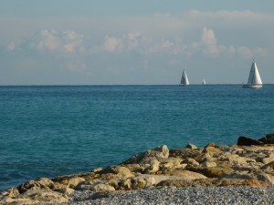 The beach at Cagnes-sur-Mer.