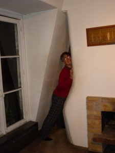 The apartment in Paris: to go between the kitchen and living room one must make love to the wall.