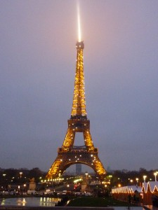The Eiffel Tower was lit up beautifully on Xmas Eve.