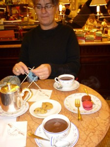 "We stopped to warm up with ""chocolat chaud"" at the Café Carette near the Tour Eiffel."